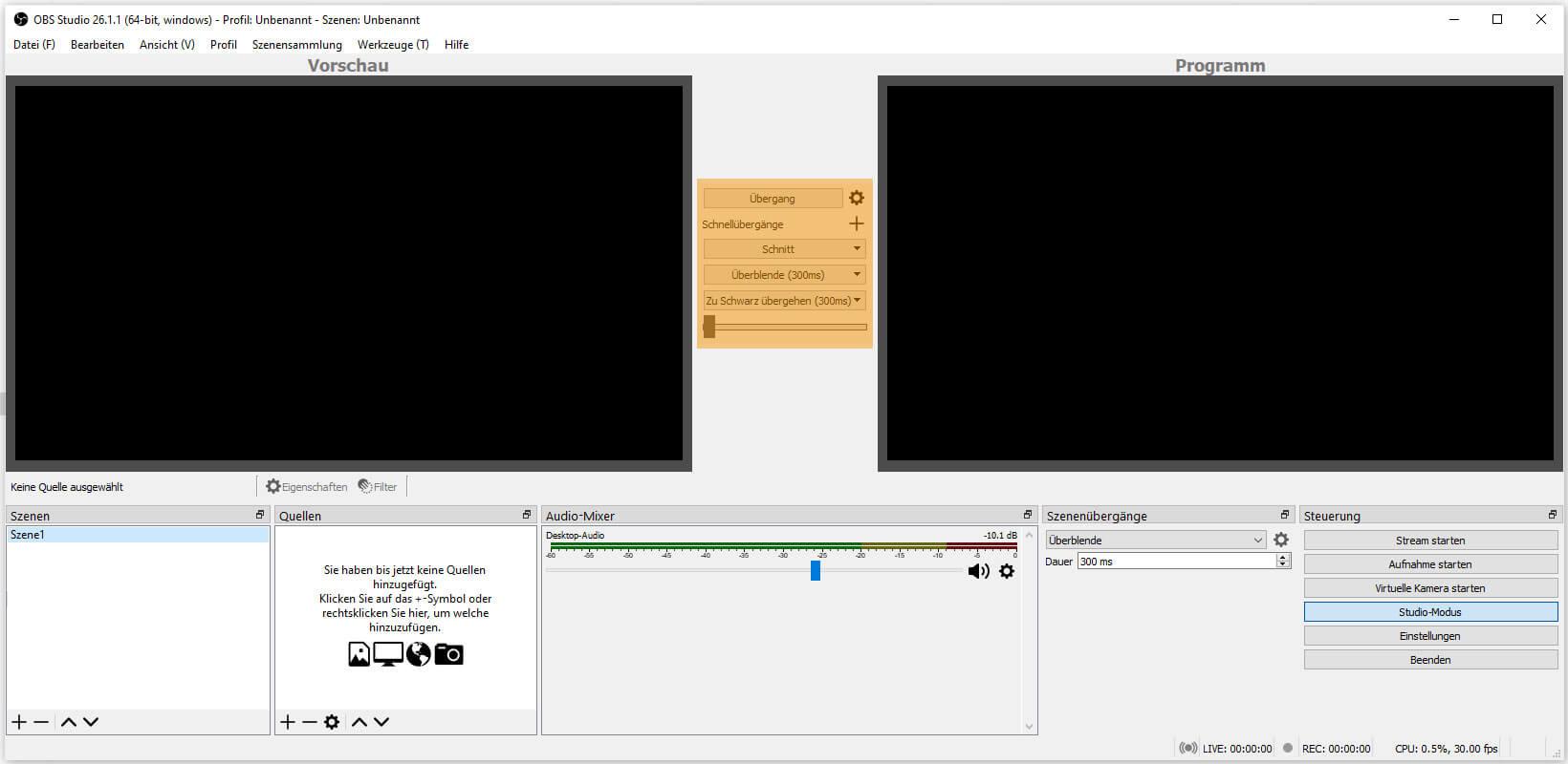 OBS Studio 26.1.1 – Steuerung - Studio-Modus - Übergang