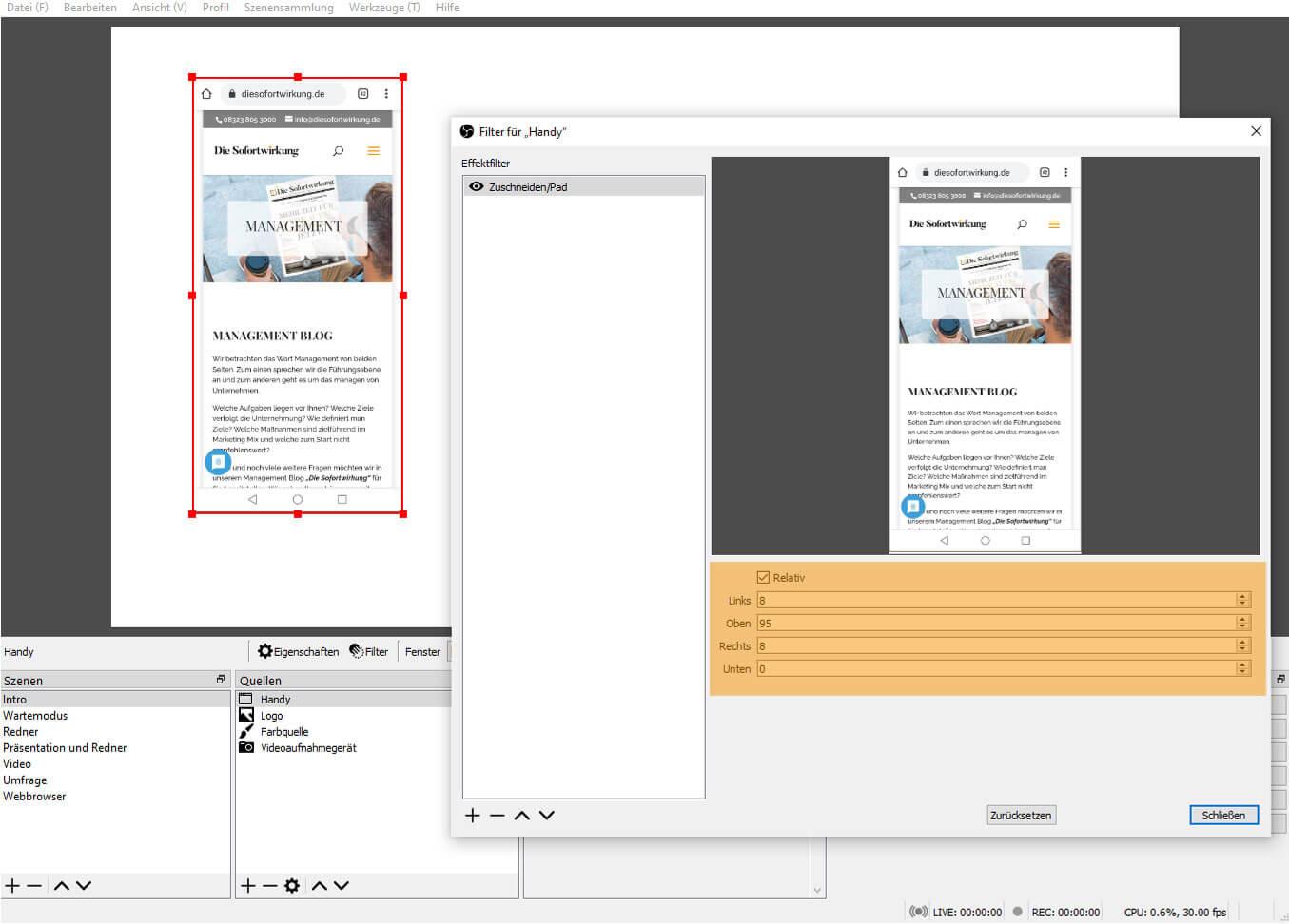 OBS Studio 26.1.1 – Filter Zuschneiden/Pad vorher