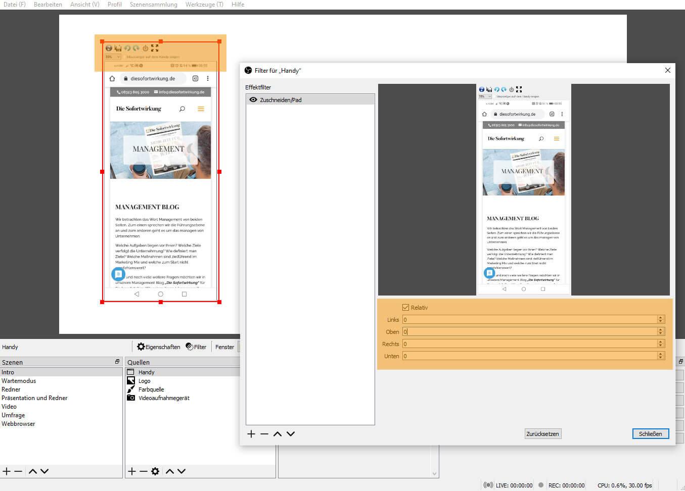 OBS Studio 26.1.1 – Filter Zuschneiden/Pad nachher
