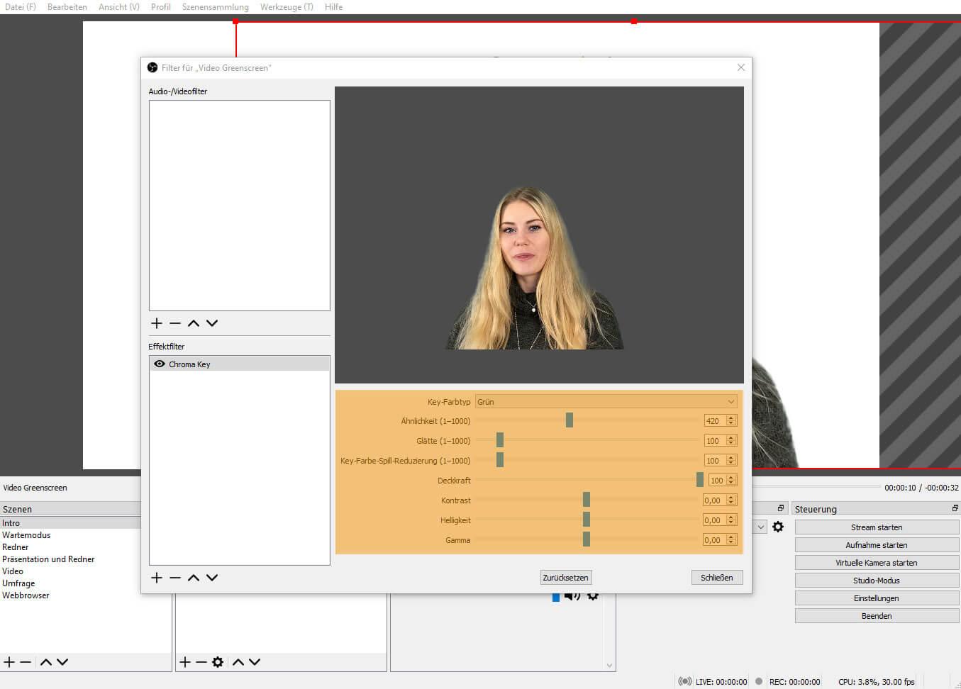 OBS Studio 26.1.1 – Filter Chroma Key angewendet