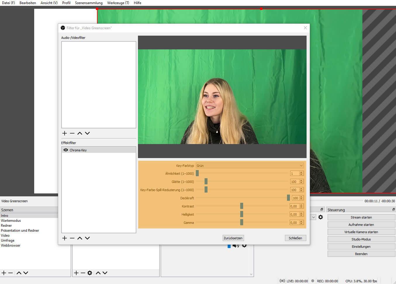 OBS Studio 26.1.1 – Filter Chroma Key für Greenscreen