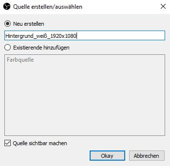 OBS Studio 26.1.1. – Einfach Modus – + Quellen – Neu erstellen