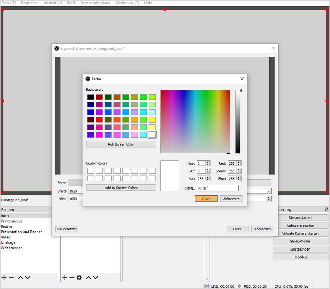 OBS Studio 26.1.1. – Einfach Modus – Farbe unter Farbquelle auswählen