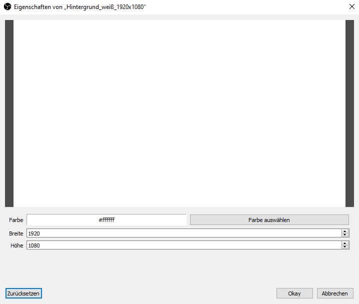 OBS Studio 26.1.1. – Einfach Modus – Eigenschaften – Größe / Farbe ändern