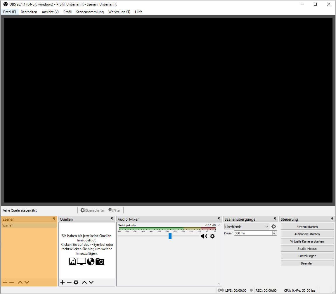 OBS Studio 26.1.1. – Einfach Modus – Szenen