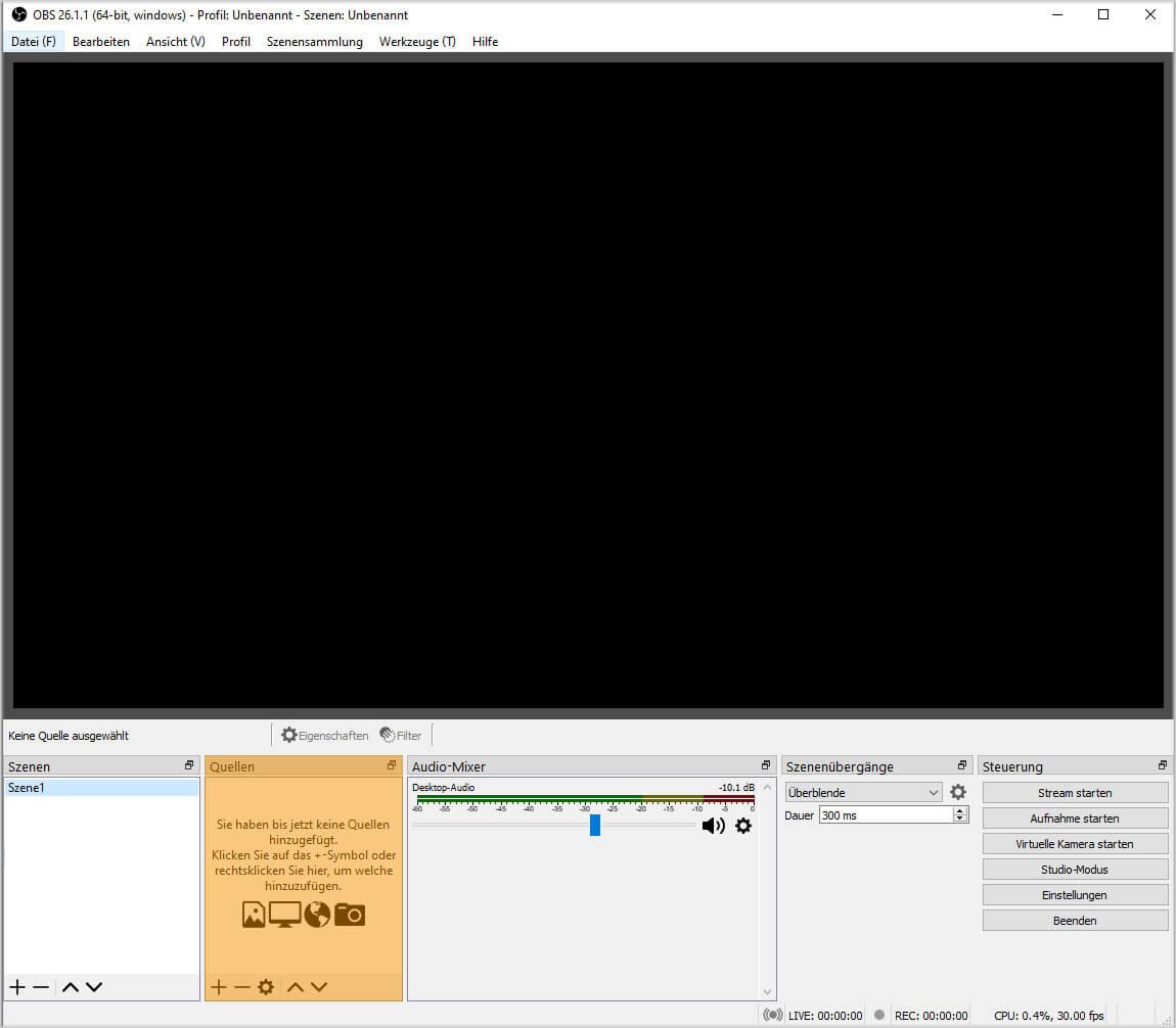 OBS Studio 26.1.1. – Einfach Modus – Quellen