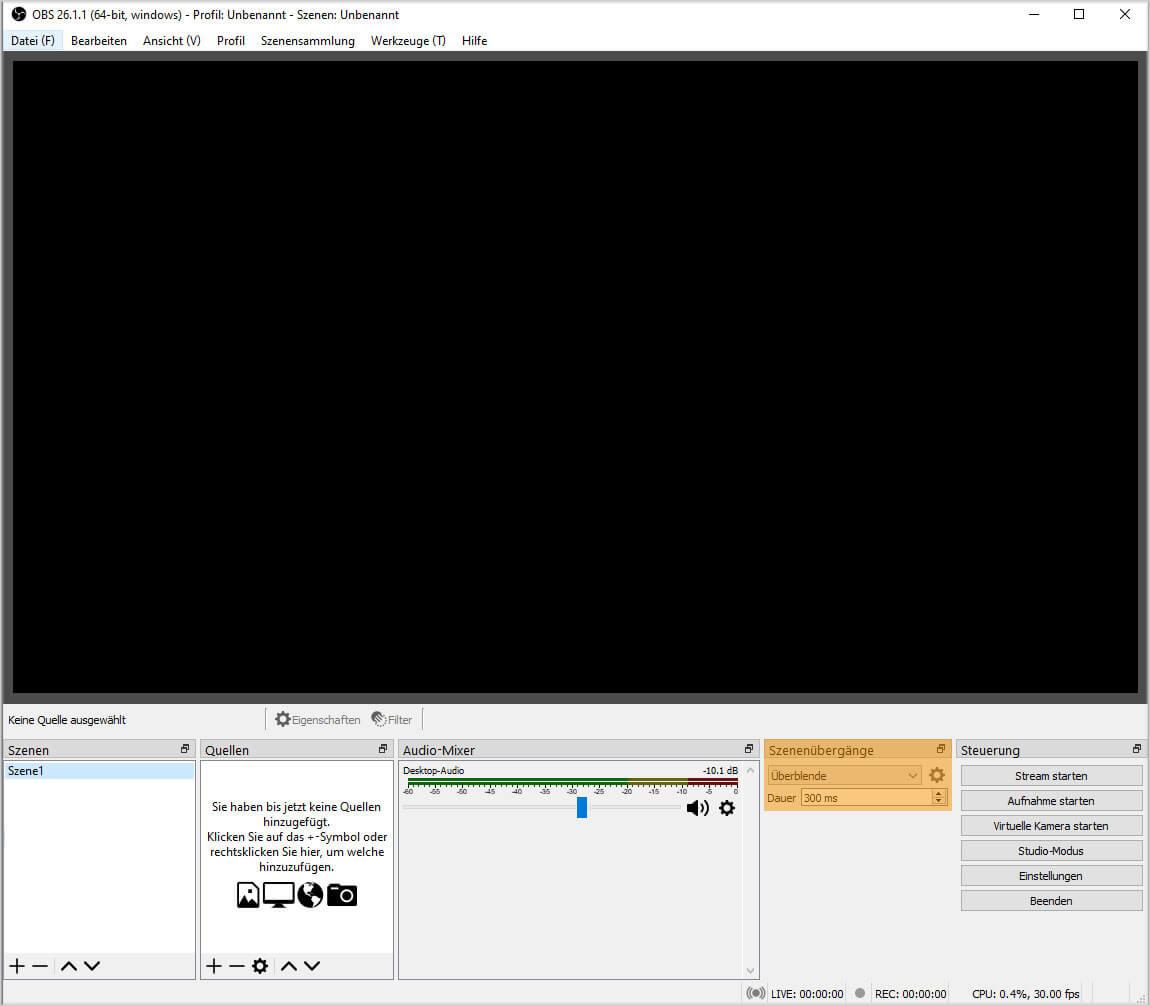 OBS Studio 26.1.1 – Szenenübergänge