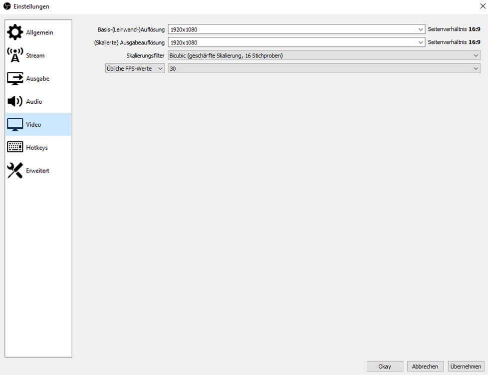 OBS Studio 26.1.1 – Einstellungen – Video