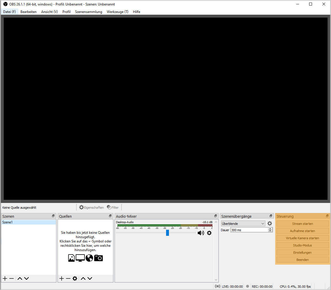 OBS Studio 26.1.1 – Steuerung
