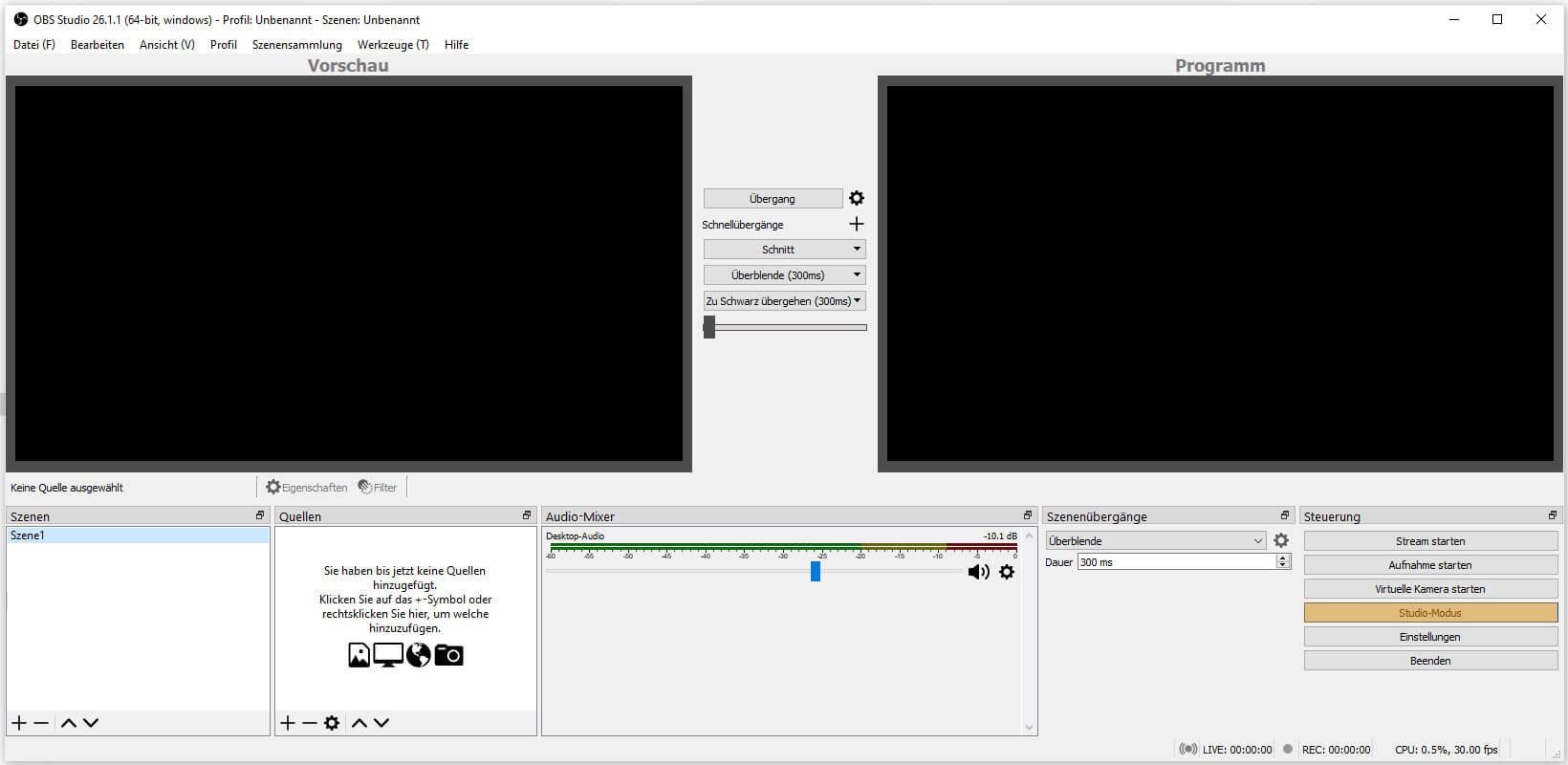 OBS Studio 26.1.1 – Steuerung - Studio-Modus