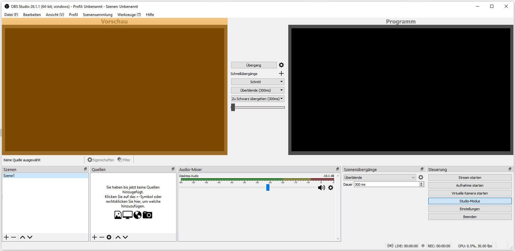 OBS Studio 26.1.1 – Steuerung - Studio-Modus - Vorschau