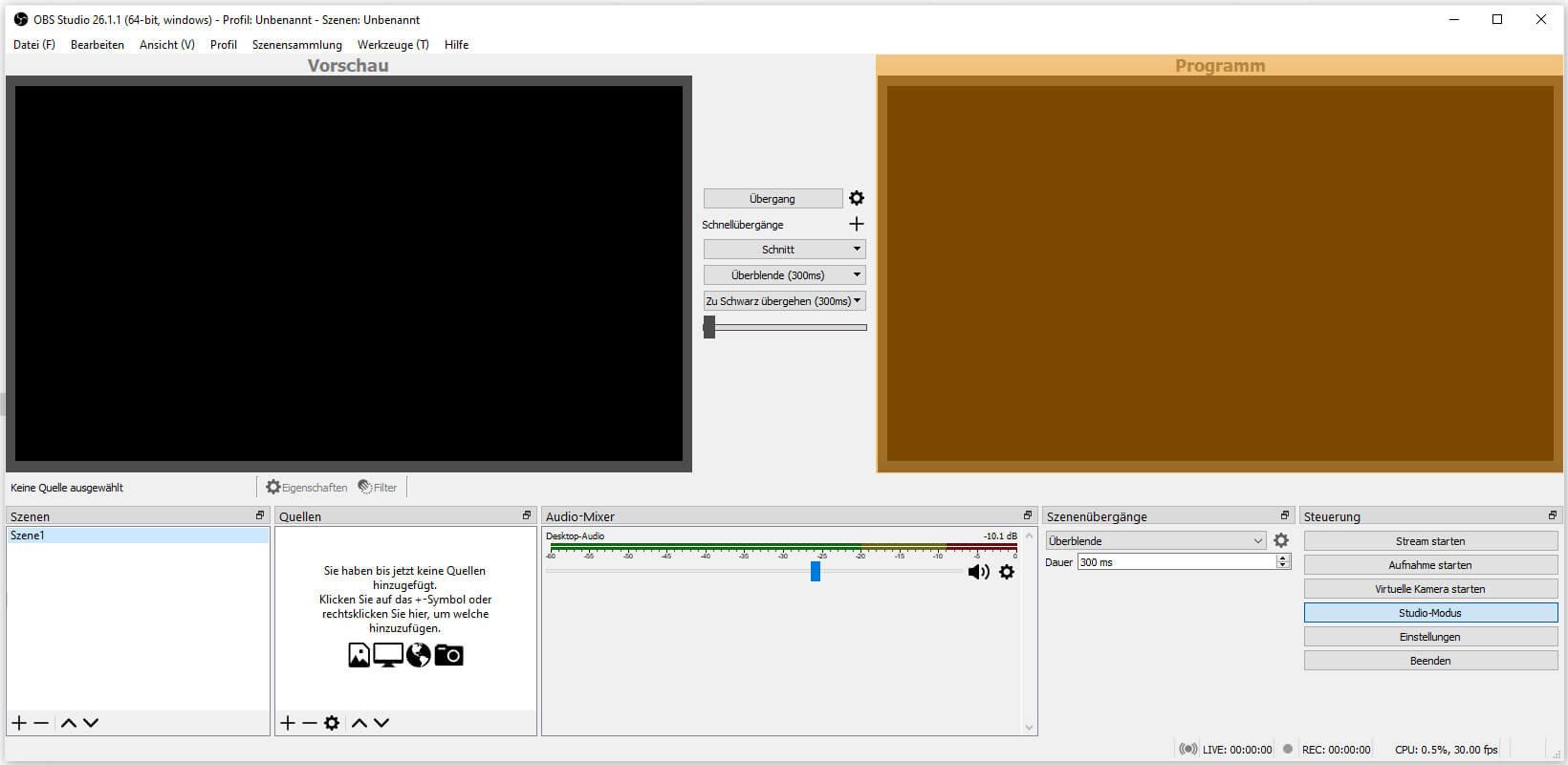 OBS Studio 26.1.1 – Steuerung - Studio-Modus - Programm